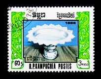 Bowl with foot, 8th Anniversary of the founding of the `United Front for Natserie, circa 1986. MOSCOW, RUSSIA - DECEMBER 21, 2017: A stamp printed in Kampuchea stock photos