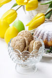 Bowl of french macaroons. Party dish Royalty Free Stock Image