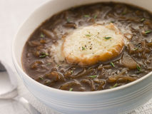 Bowl of French Onion Soup Stock Photo