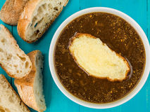 Bowl of French Onion Soup With Toasted Bread and Melted Cheese Stock Photography