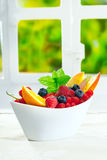 Bowl of fresh berries with copyspace Royalty Free Stock Photography