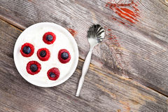 Bowl of fresh berries with creamy yogurt. Bowl of fresh raspberries and blueberries with creamy yogurt for a healthy breakfast or daytime snack, view from above Royalty Free Stock Photography