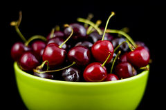 Bowl of fresh bing cherries Stock Images