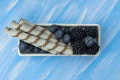 Bowl of fresh blackberries and blueberries on a wooden background, close-up, horizontal stock photos