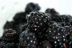 Bowl of Fresh Blackberries - Healthy Eating Stock Photography