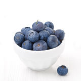 Bowl with fresh blueberries on a white background close-up Stock Photography