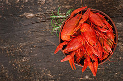 Bowl of fresh boiled crawfish Stock Images