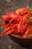 Bowl of fresh boiled crawfish Royalty Free Stock Photography