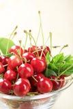 Bowl of fresh cherries Stock Photo
