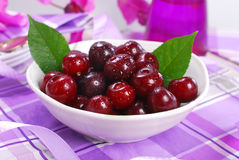 Bowl of fresh cherries Royalty Free Stock Image