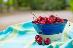 Bowl fresh cherries Royalty Free Stock Photo