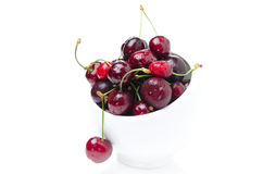 Bowl of fresh cherries on a white background isolated Stock Photos