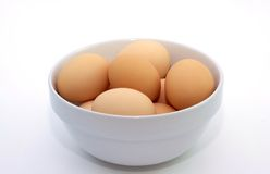 Bowl of fresh chicken eggs. Royalty Free Stock Photography