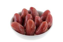 A bowl of Fresh Chicken Hearts Stock Photography