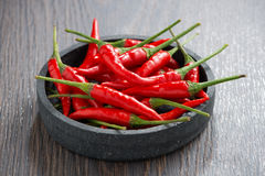 Bowl with fresh chili peppers Royalty Free Stock Photo