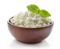 Bowl of fresh cottage cheese Royalty Free Stock Photo
