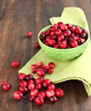 Bowl of fresh cranberries. Bowl of fresh ripe cranberries Royalty Free Stock Photos