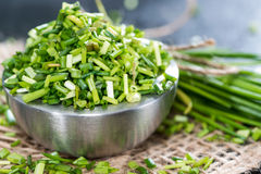 Bowl with fresh cutted Chives Stock Photos