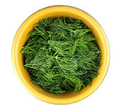 Bowl of fresh dill on white background, top view Stock Photos