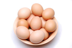 Bowl of fresh eggs. Bowl of free range eggs on a white linen background royalty free stock photography