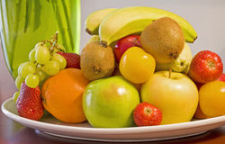 Bowl of fresh fruit. Selection of fresh fruit in a bowl on a table Stock Photography