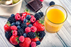 Bowl of fresh fruit. Bblackberries; raspberries; blueberries. Royalty Free Stock Images