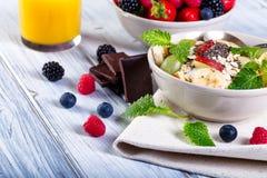 Bowl of fresh fruit. Bblackberries; raspberries; blueberries. Stock Image