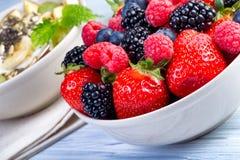 Bowl of fresh fruit. Bblackberries; raspberries; blueberries on Stock Photo