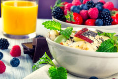 Bowl of fresh fruit. Bblackberries; raspberries; blueberries. Royalty Free Stock Image