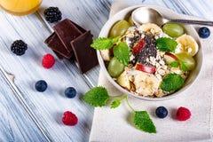 Bowl of fresh fruit. Bblackberries; raspberries; blueberries. Stock Photo