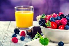 Bowl of fresh fruit. Bblackberries; raspberries; blueberries. Stock Images