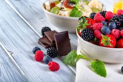 Bowl of fresh fruit. Bblackberries; raspberries; blueberries. stock photos