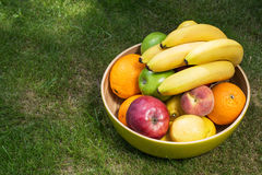 Bowl of fresh fruit on grass. High angle view of a bowl of fresh fruit on grass containing bananas, oranges, apples, a lemon and peach stock photos