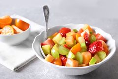 Bowl with fresh fruit salad royalty free stock image
