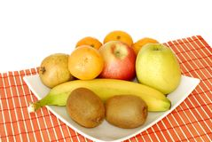 Bowl with fresh fruits Stock Images