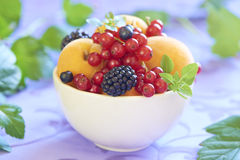 Bowl with fresh fruits and berries Stock Images