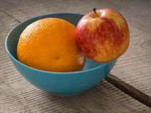 Bowl with fresh fruits stock photos