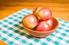 Bowl of fresh Fuji apples Stock Photography