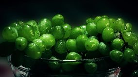 Bowl with fresh grapes. Green. Wine. Blur stock video
