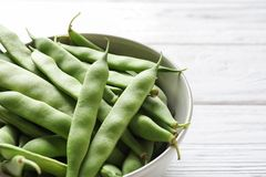 Bowl with fresh green beans. Closeup royalty free stock photos