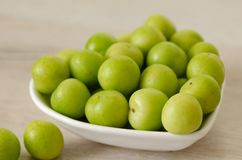 A bowl of fresh green plums on table royalty free stock images