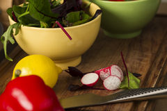 Bowl of fresh herbs and salad ingredients Stock Photos