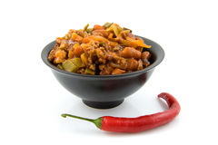 Bowl with fresh home made chili con carne Royalty Free Stock Photos