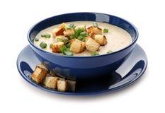 Bowl of fresh homemade mushroom soup. On white background stock images