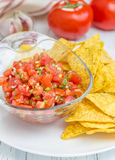 Bowl of fresh homemade salsa with nachos. Closeup Royalty Free Stock Photography