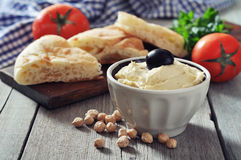 Bowl of fresh hummus Royalty Free Stock Image