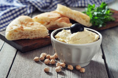 Bowl of fresh hummus Royalty Free Stock Photo