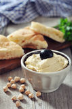 Bowl of fresh hummus Royalty Free Stock Photography