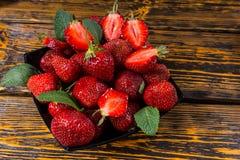 Bowl of fresh juicy ripe strawberries Stock Photos