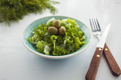 Bowl of fresh leafy green salad with olives, dill, onion and paprika. On the white table, healthy eating, diet, salad portion Royalty Free Stock Images